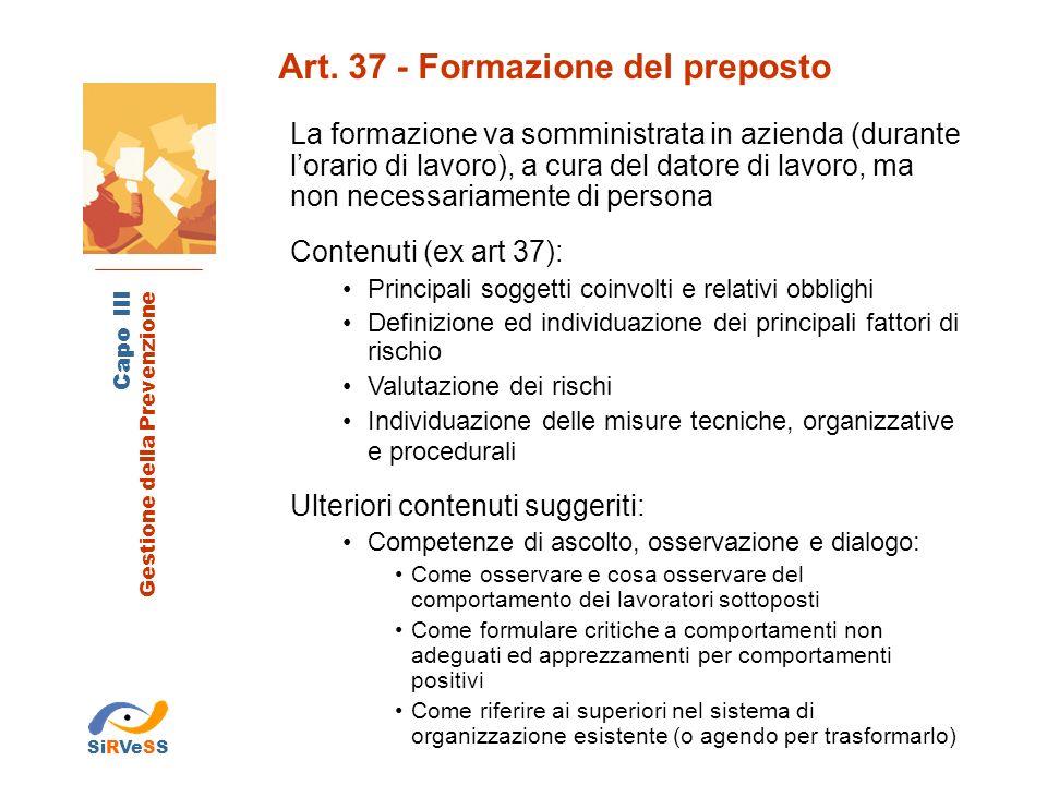 Art. 37 - Formazione del preposto