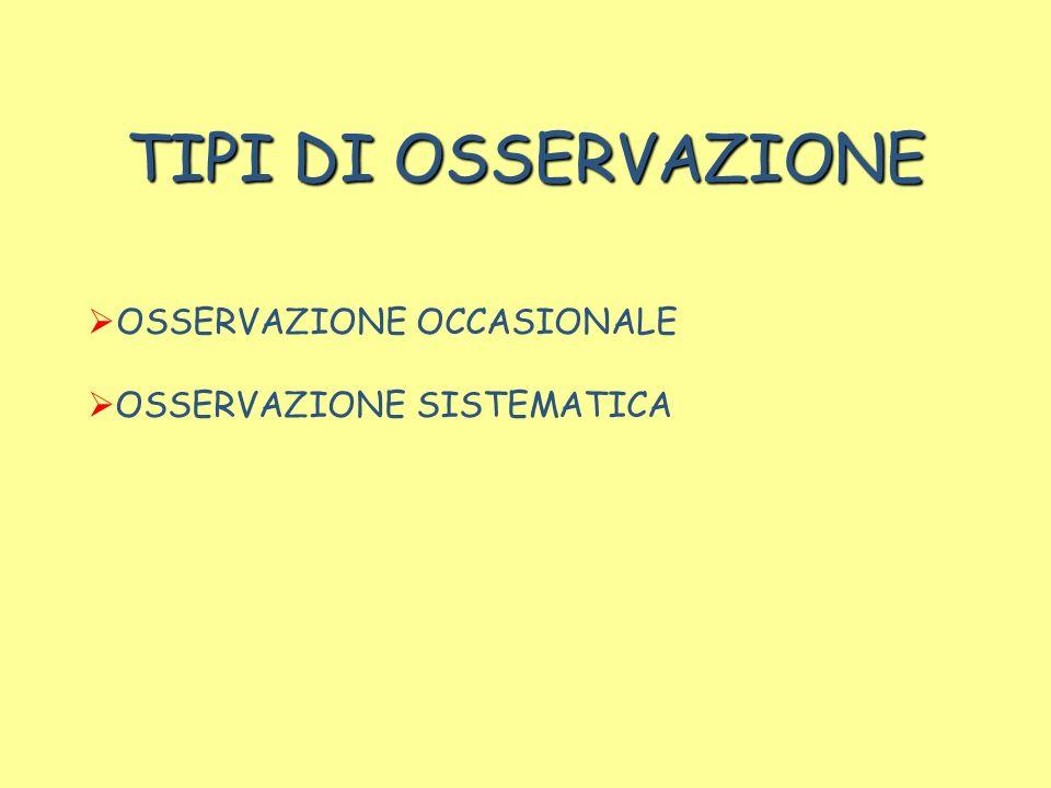 TIPI DI OSSERVAZIONE OSSERVAZIONE OCCASIONALE OSSERVAZIONE SISTEMATICA