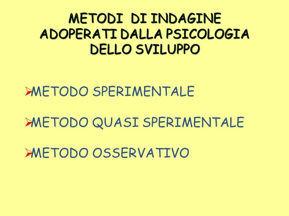 METODI DI INDAGINE ADOPERATI DALLA PSICOLOGIA DELLO SVILUPPO