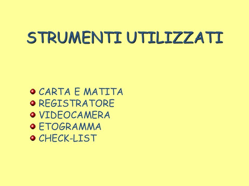 STRUMENTI UTILIZZATI CARTA E MATITA REGISTRATORE VIDEOCAMERA ETOGRAMMA