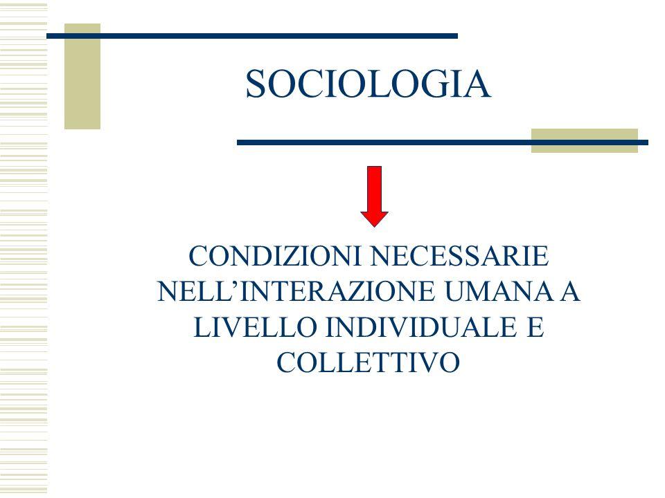 SOCIOLOGIA CONDIZIONI NECESSARIE NELL'INTERAZIONE UMANA A
