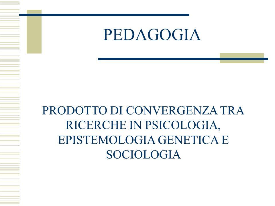 PEDAGOGIA PRODOTTO DI CONVERGENZA TRA RICERCHE IN PSICOLOGIA,