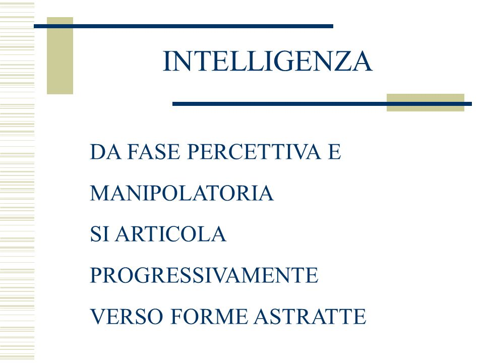 INTELLIGENZA DA FASE PERCETTIVA E MANIPOLATORIA SI ARTICOLA