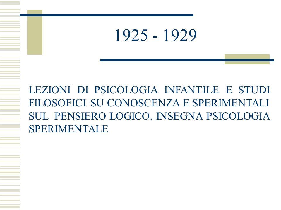 1925 - 1929 LEZIONI DI PSICOLOGIA INFANTILE E STUDI