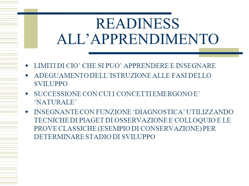READINESS ALL'APPRENDIMENTO
