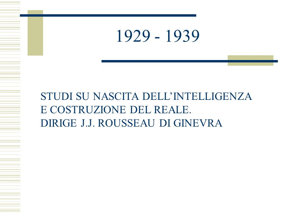 1929 - 1939 STUDI SU NASCITA DELL'INTELLIGENZA