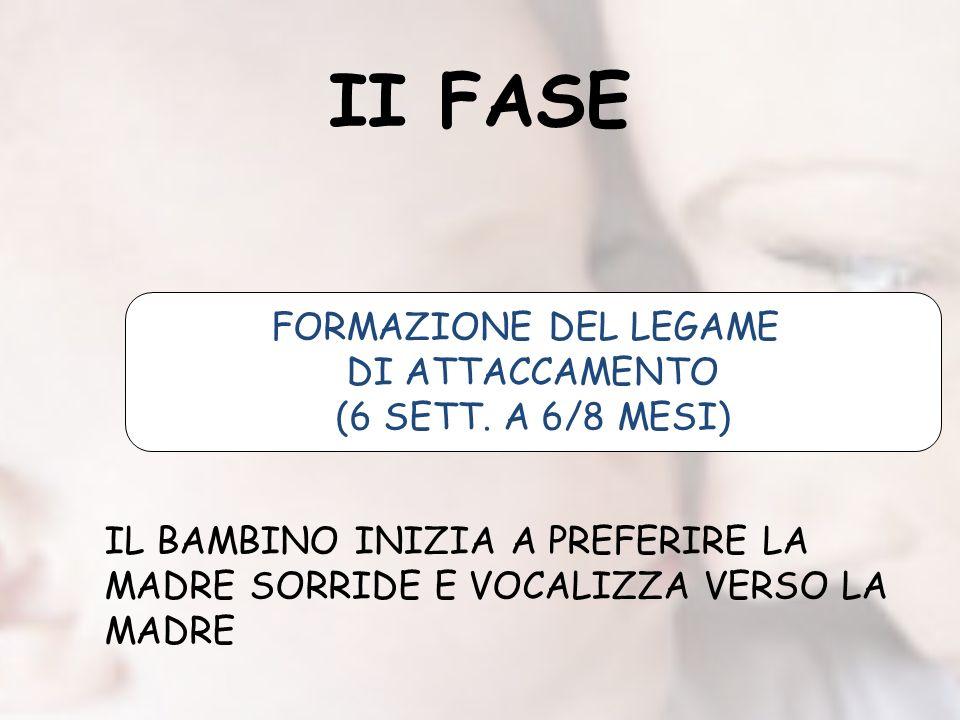 II FASE FORMAZIONE DEL LEGAME DI ATTACCAMENTO (6 SETT. A 6/8 MESI)