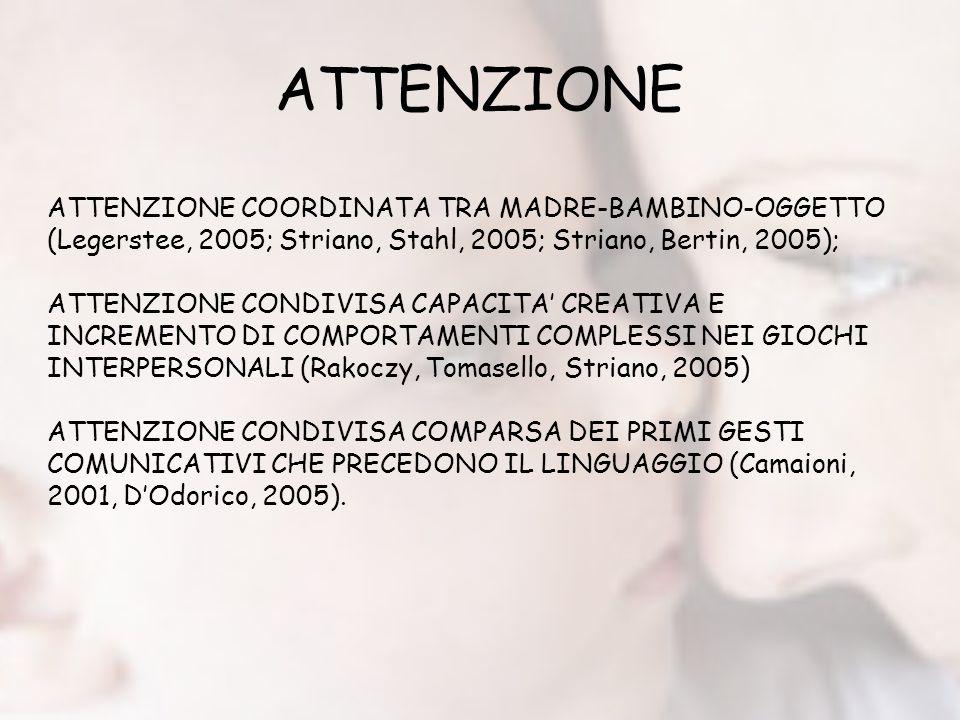 ATTENZIONE ATTENZIONE COORDINATA TRA MADRE-BAMBINO-OGGETTO (Legerstee, 2005; Striano, Stahl, 2005; Striano, Bertin, 2005);