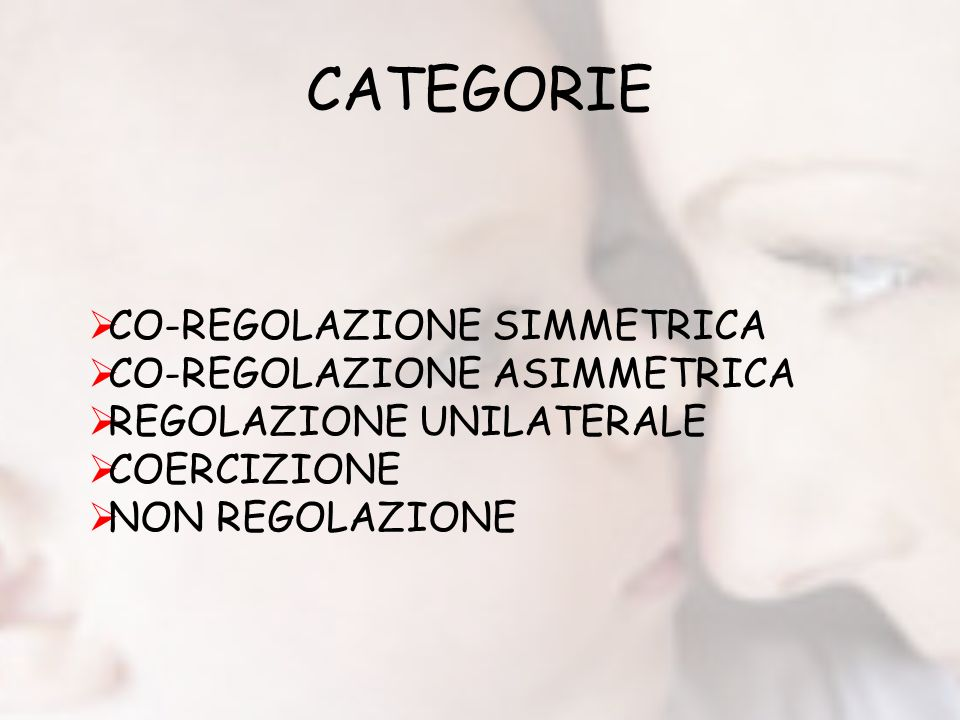 CATEGORIE CO-REGOLAZIONE SIMMETRICA CO-REGOLAZIONE ASIMMETRICA