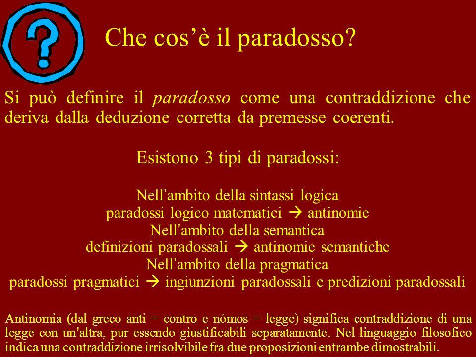 Che cos'è il paradosso Si può definire il paradosso come una contraddizione che deriva dalla deduzione corretta da premesse coerenti.
