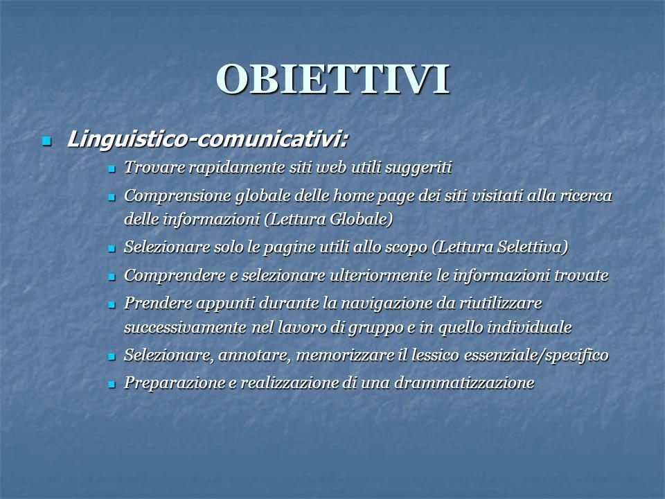 OBIETTIVI Linguistico-comunicativi: