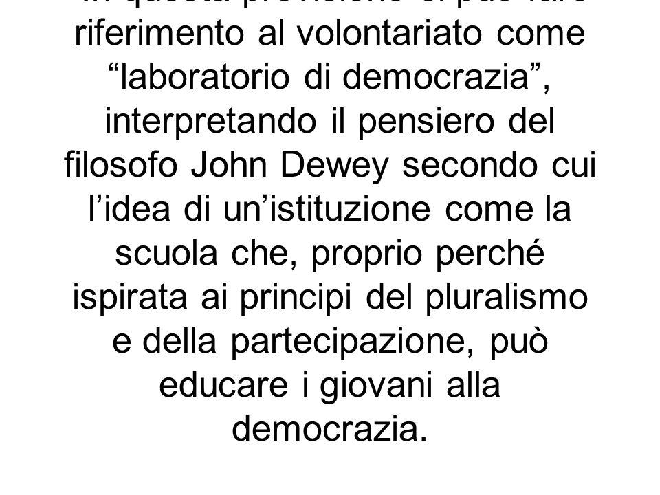 In questa previsione si può fare riferimento al volontariato come laboratorio di democrazia , interpretando il pensiero del filosofo John Dewey secondo cui l'idea di un'istituzione come la scuola che, proprio perché ispirata ai principi del pluralismo e della partecipazione, può educare i giovani alla democrazia.