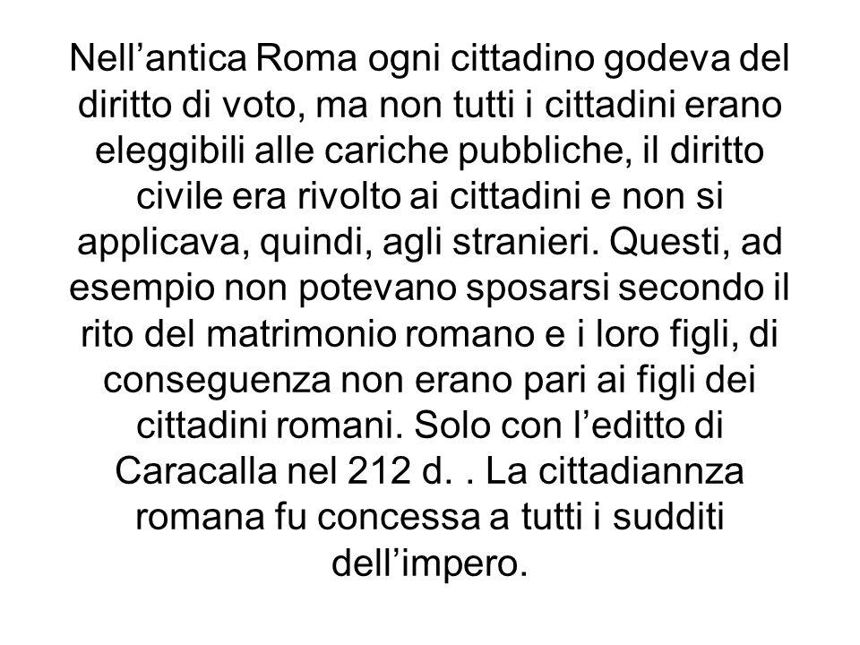 Nell'antica Roma ogni cittadino godeva del diritto di voto, ma non tutti i cittadini erano eleggibili alle cariche pubbliche, il diritto civile era rivolto ai cittadini e non si applicava, quindi, agli stranieri.