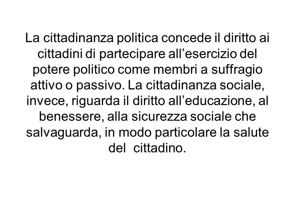 La cittadinanza politica concede il diritto ai cittadini di partecipare all'esercizio del potere politico come membri a suffragio attivo o passivo.