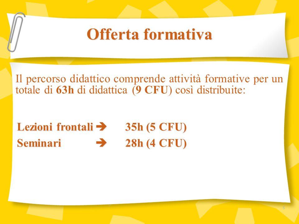 Offerta formativaIl percorso didattico comprende attività formative per un totale di 63h di didattica (9 CFU) così distribuite: