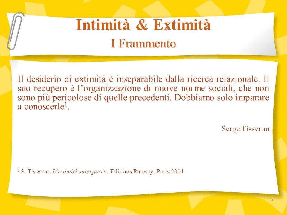 Intimità & Extimità I Frammento