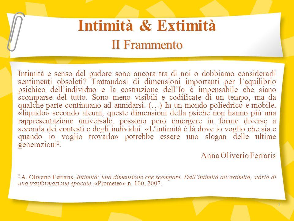 Intimità & Extimità II Frammento