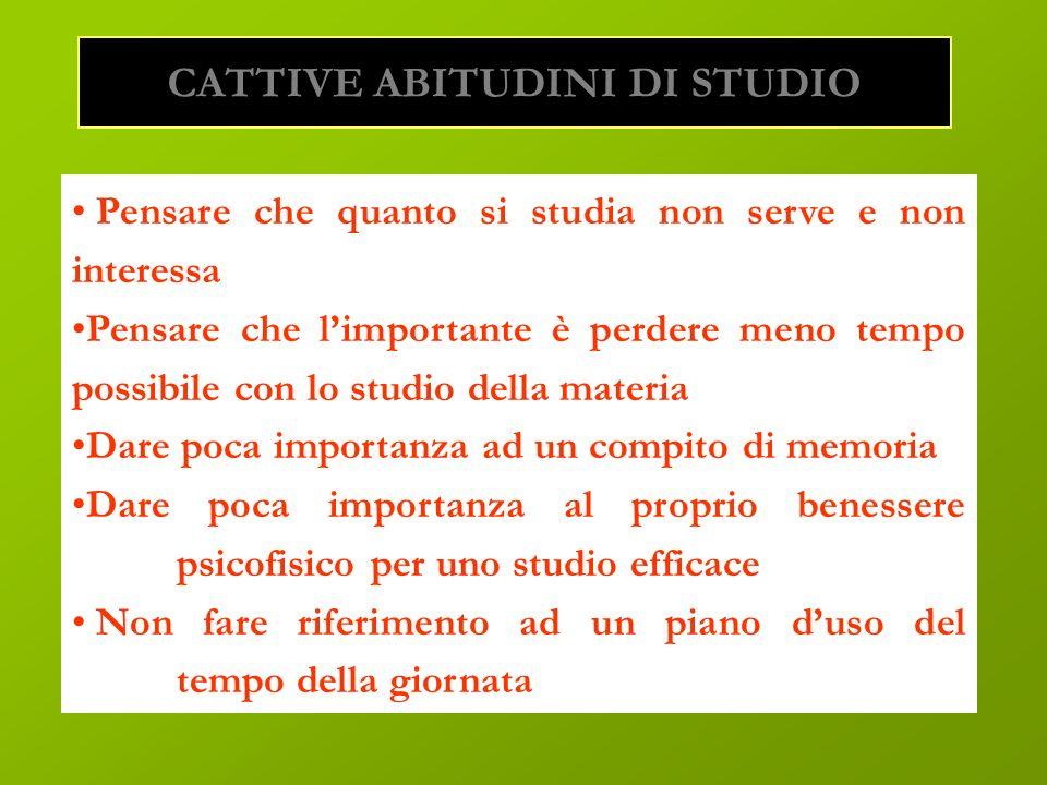 CATTIVE ABITUDINI DI STUDIO