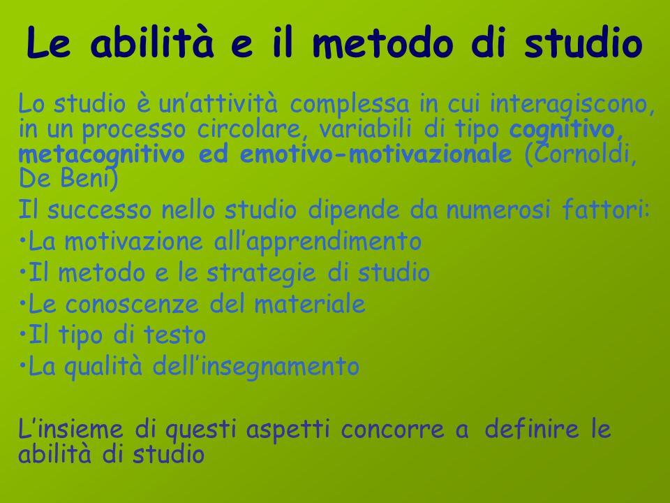 Le abilità e il metodo di studio
