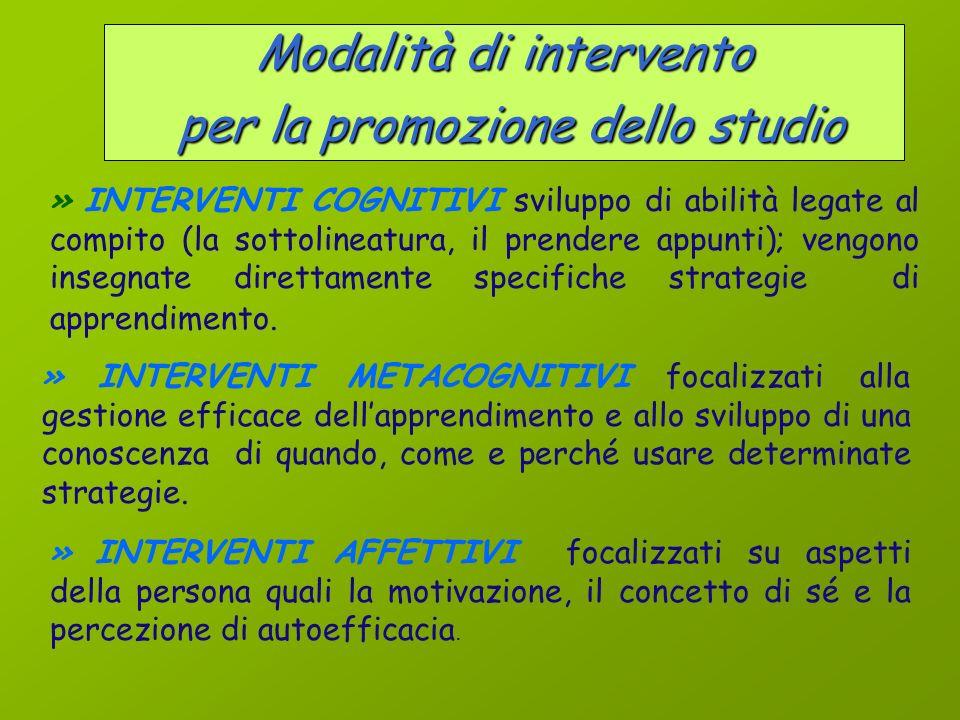 Modalità di intervento per la promozione dello studio