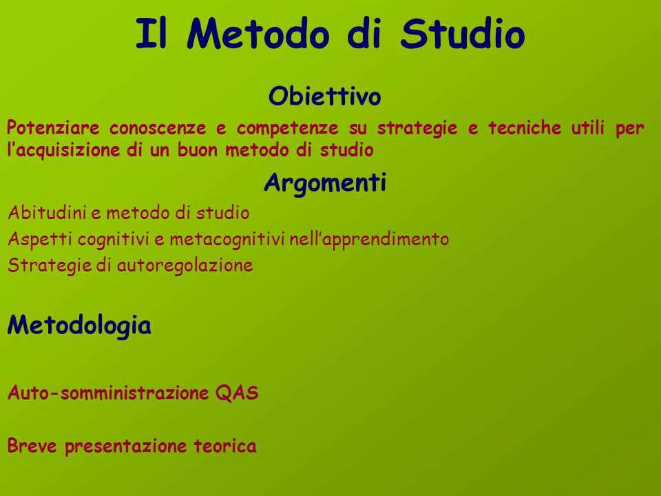 Il Metodo di Studio Obiettivo Argomenti Metodologia