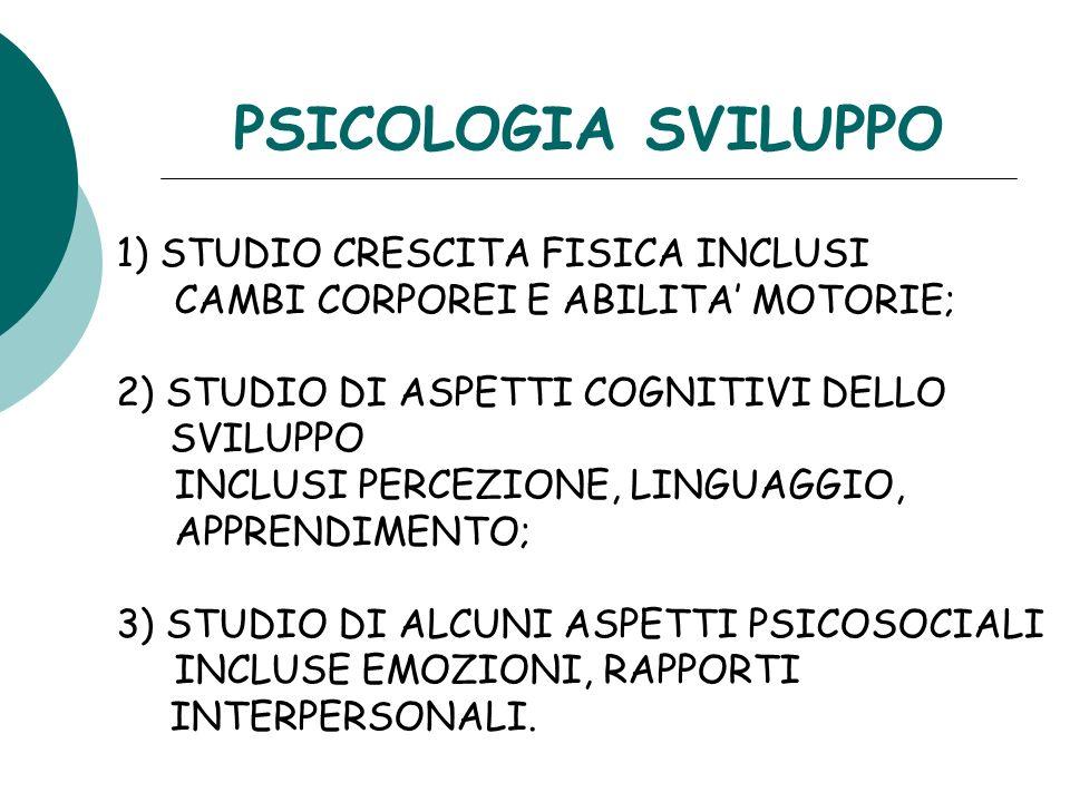 PSICOLOGIA SVILUPPO 1) STUDIO CRESCITA FISICA INCLUSI
