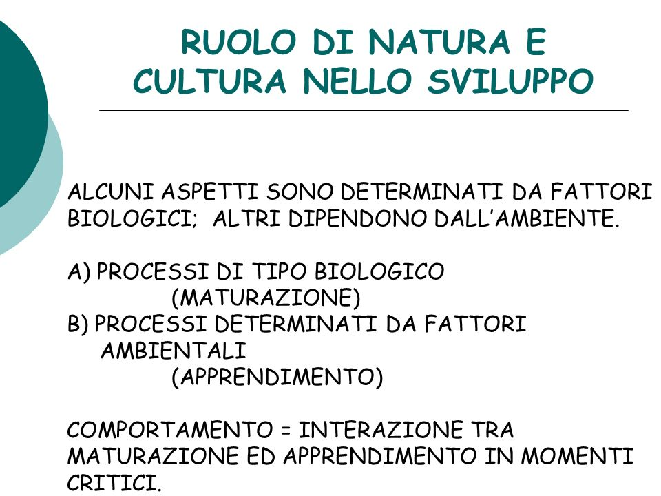 RUOLO DI NATURA E CULTURA NELLO SVILUPPO