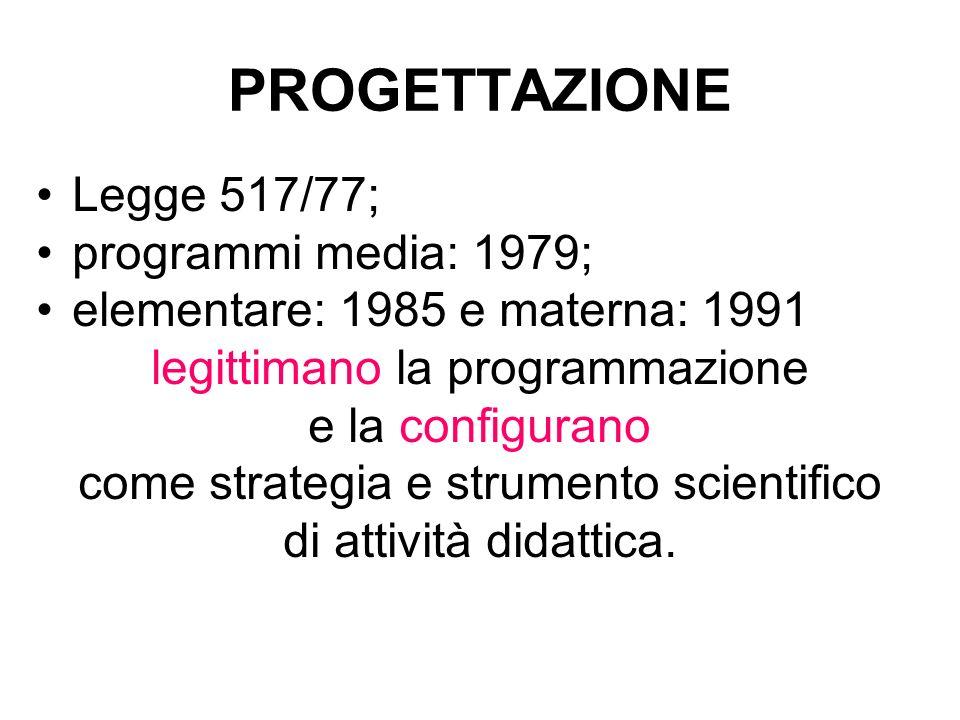 PROGETTAZIONE Legge 517/77; programmi media: 1979;