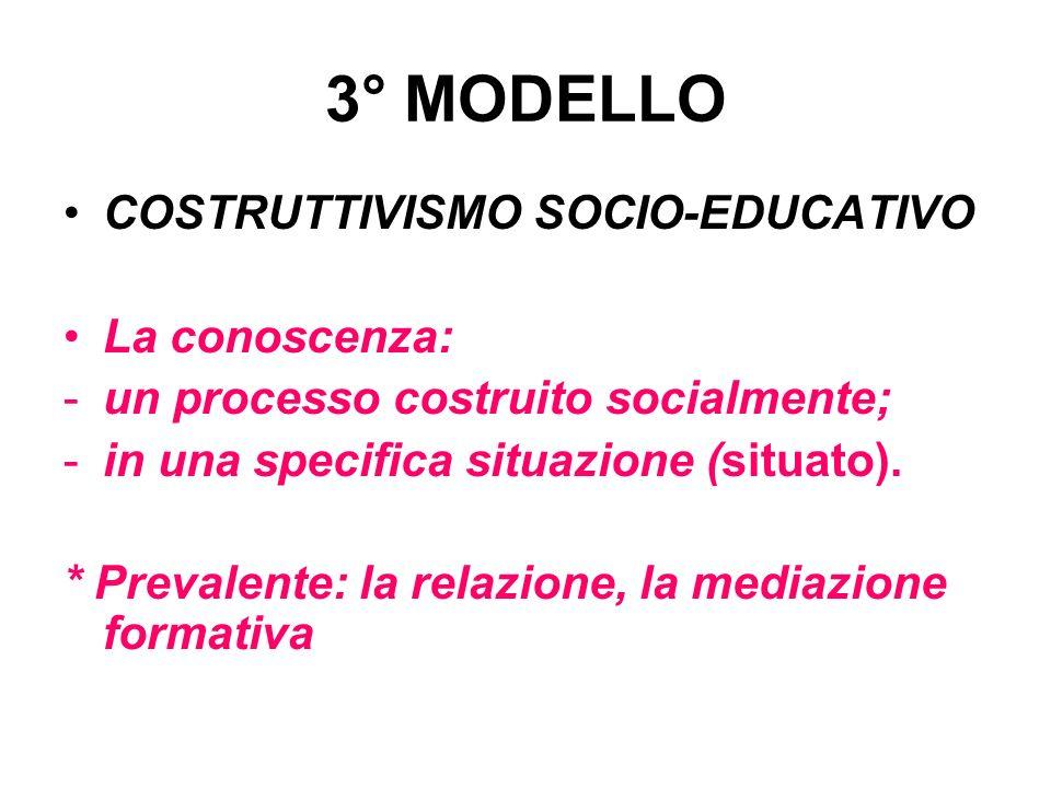 3° MODELLO COSTRUTTIVISMO SOCIO-EDUCATIVO La conoscenza: