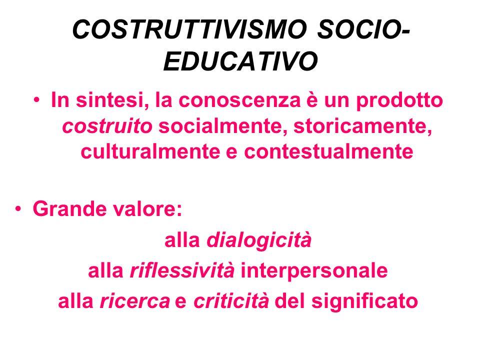 COSTRUTTIVISMO SOCIO-EDUCATIVO