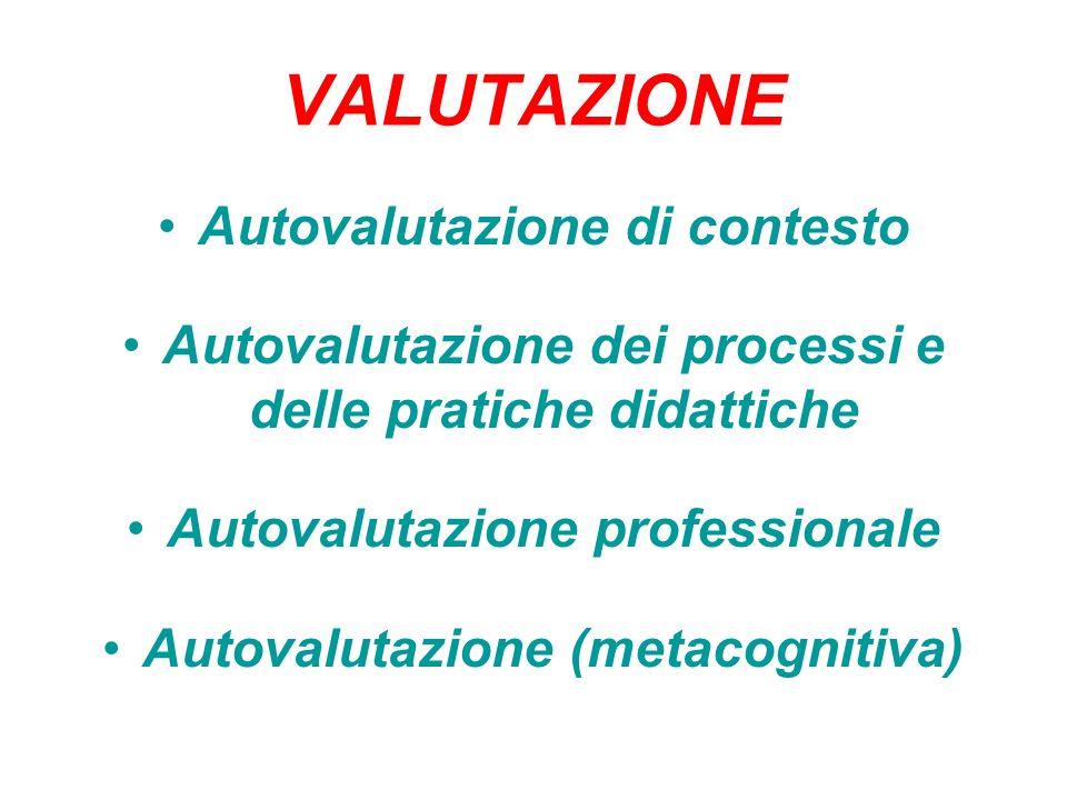 VALUTAZIONE Autovalutazione di contesto