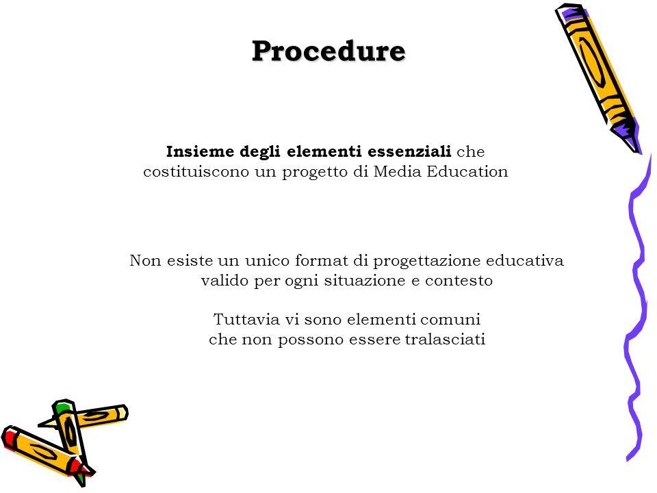Procedure Insieme degli elementi essenziali che costituiscono un progetto di Media Education. Non esiste un unico format di progettazione educativa.