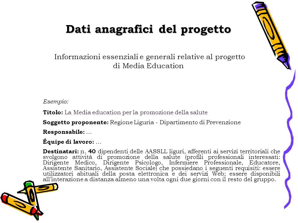 Dati anagrafici del progetto