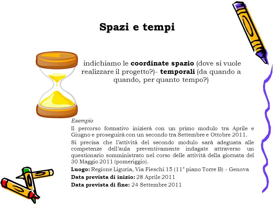 Spazi e tempi indichiamo le coordinate spazio (dove si vuole realizzare il progetto )- temporali (da quando a quando, per quanto tempo )