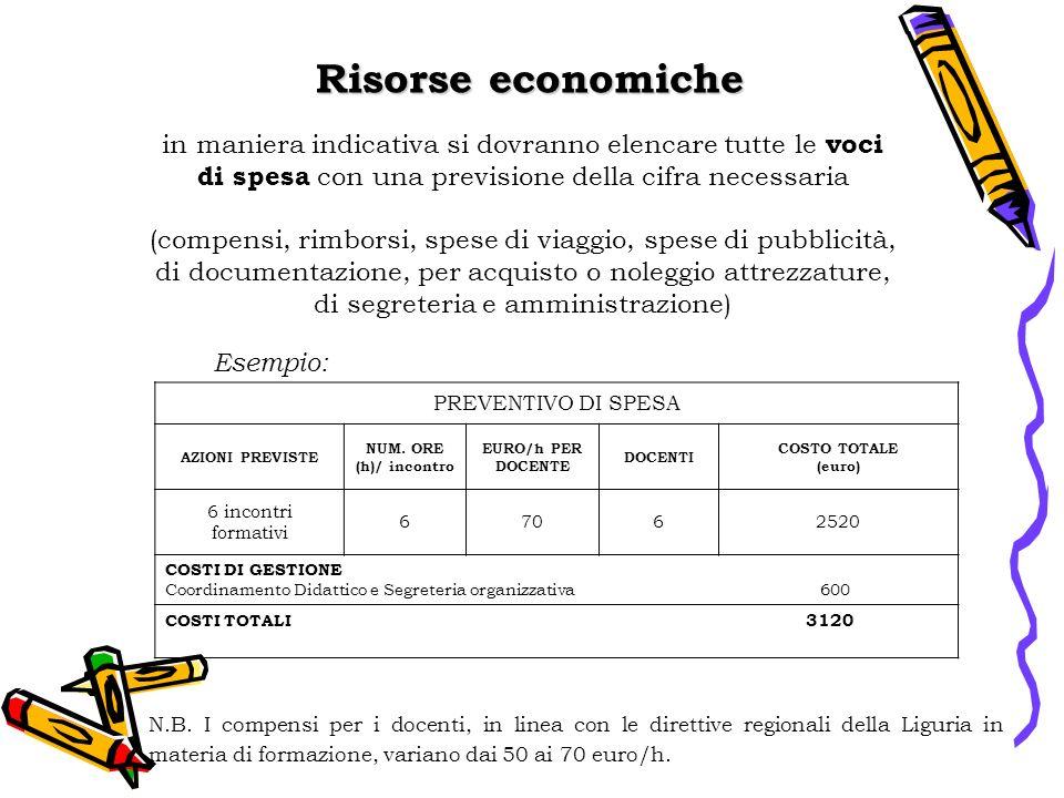 Risorse economiche in maniera indicativa si dovranno elencare tutte le voci di spesa con una previsione della cifra necessaria.