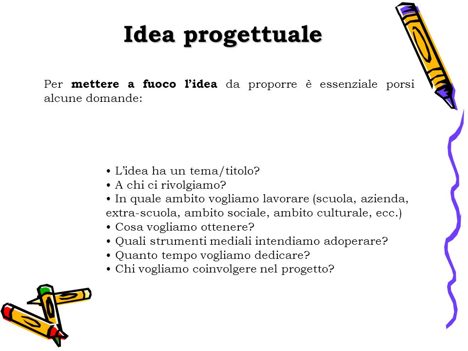 Idea progettuale Per mettere a fuoco l'idea da proporre è essenziale porsi alcune domande: L'idea ha un tema/titolo