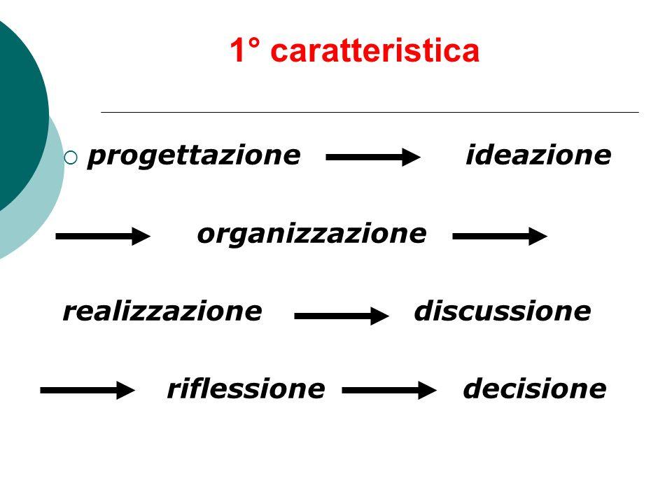 1° caratteristica progettazione ideazione organizzazione