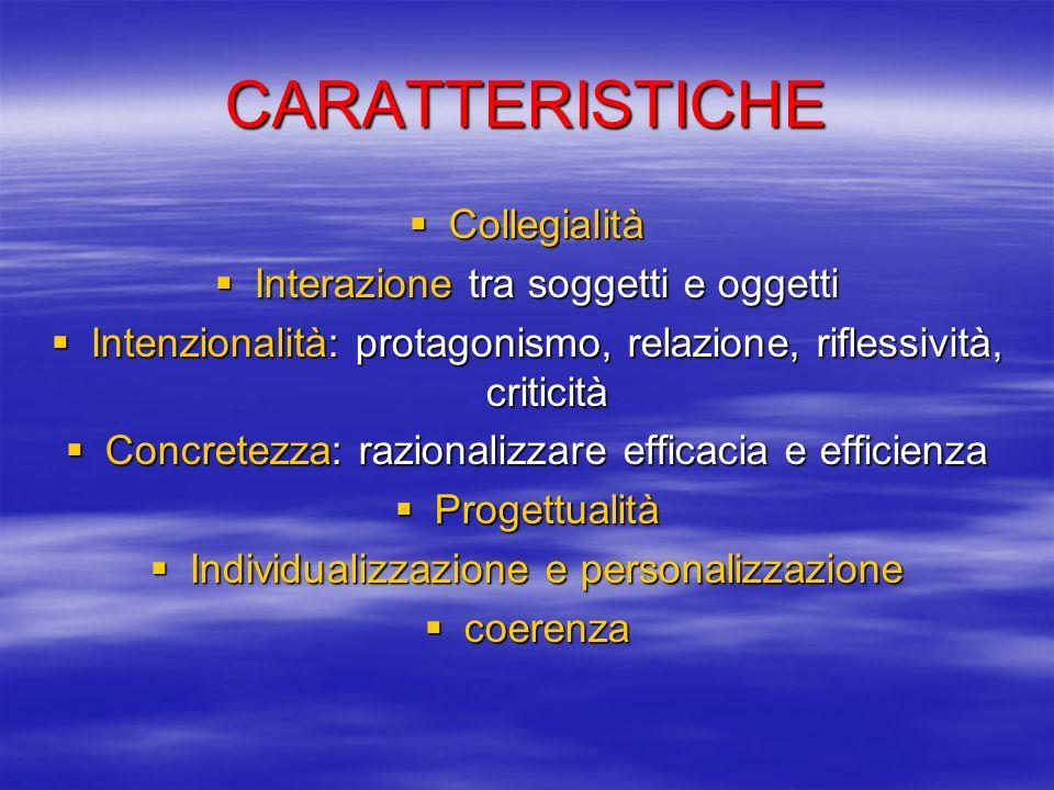 CARATTERISTICHE Collegialità Interazione tra soggetti e oggetti