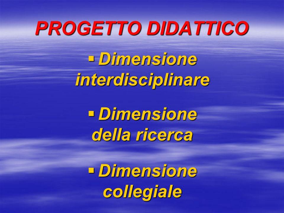PROGETTO DIDATTICO Dimensione interdisciplinare della ricerca