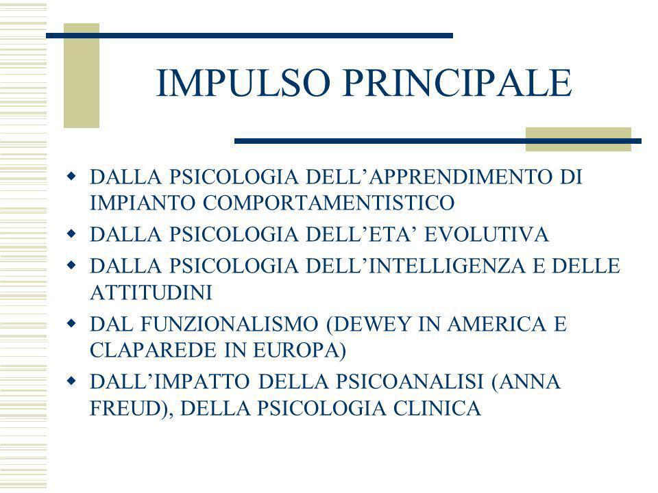 IMPULSO PRINCIPALE DALLA PSICOLOGIA DELL'APPRENDIMENTO DI IMPIANTO COMPORTAMENTISTICO. DALLA PSICOLOGIA DELL'ETA' EVOLUTIVA.