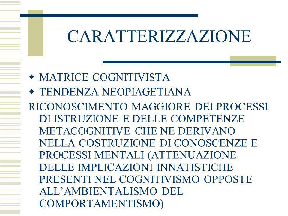 CARATTERIZZAZIONE MATRICE COGNITIVISTA TENDENZA NEOPIAGETIANA