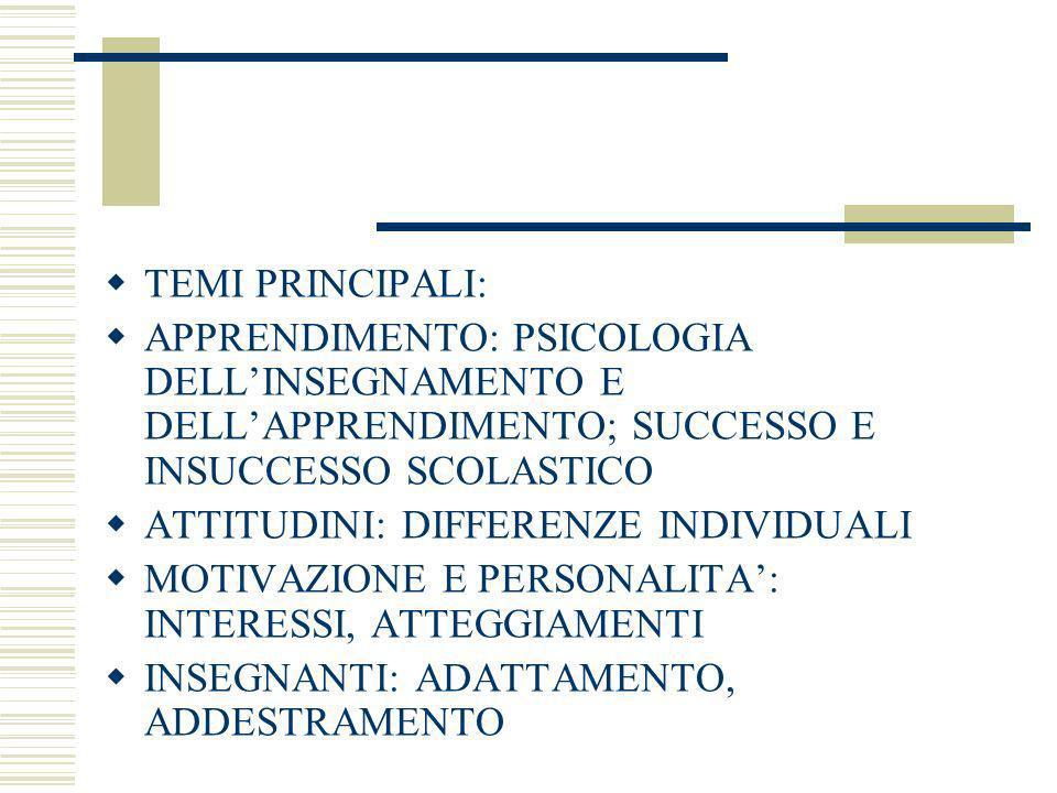 TEMI PRINCIPALI: APPRENDIMENTO: PSICOLOGIA DELL'INSEGNAMENTO E DELL'APPRENDIMENTO; SUCCESSO E INSUCCESSO SCOLASTICO.