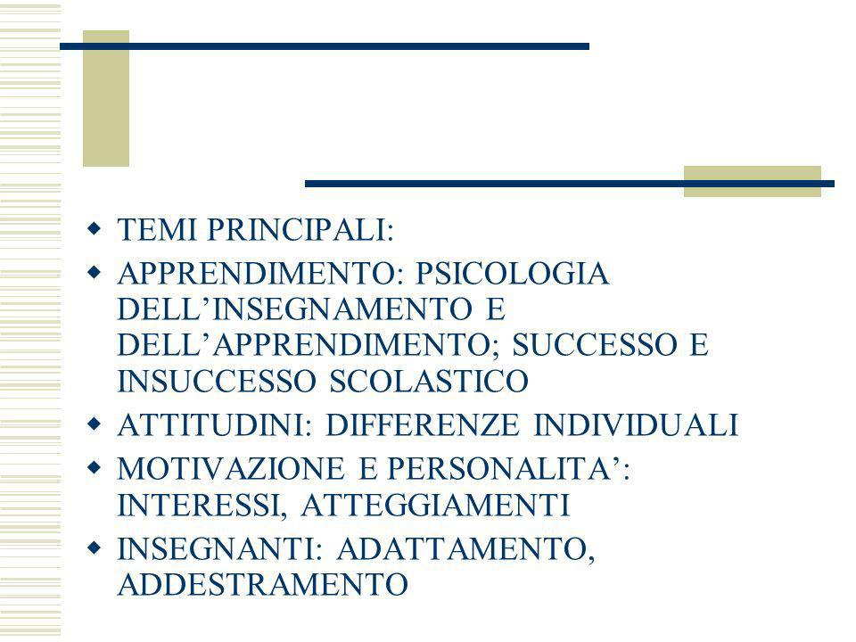 TEMI PRINCIPALI:APPRENDIMENTO: PSICOLOGIA DELL'INSEGNAMENTO E DELL'APPRENDIMENTO; SUCCESSO E INSUCCESSO SCOLASTICO.