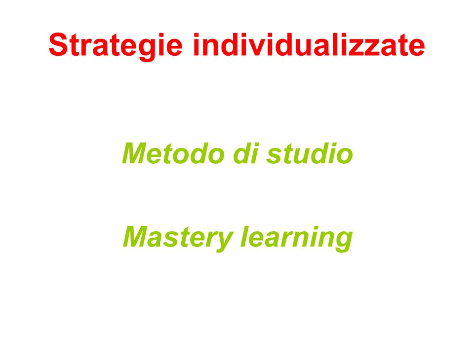 Strategie individualizzate