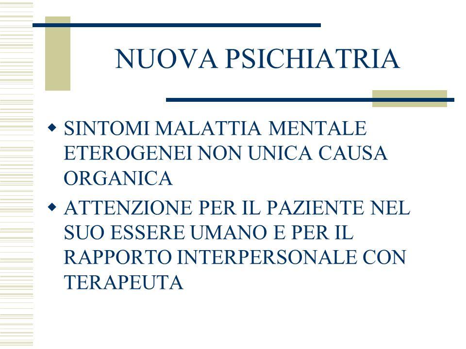NUOVA PSICHIATRIASINTOMI MALATTIA MENTALE ETEROGENEI NON UNICA CAUSA ORGANICA.