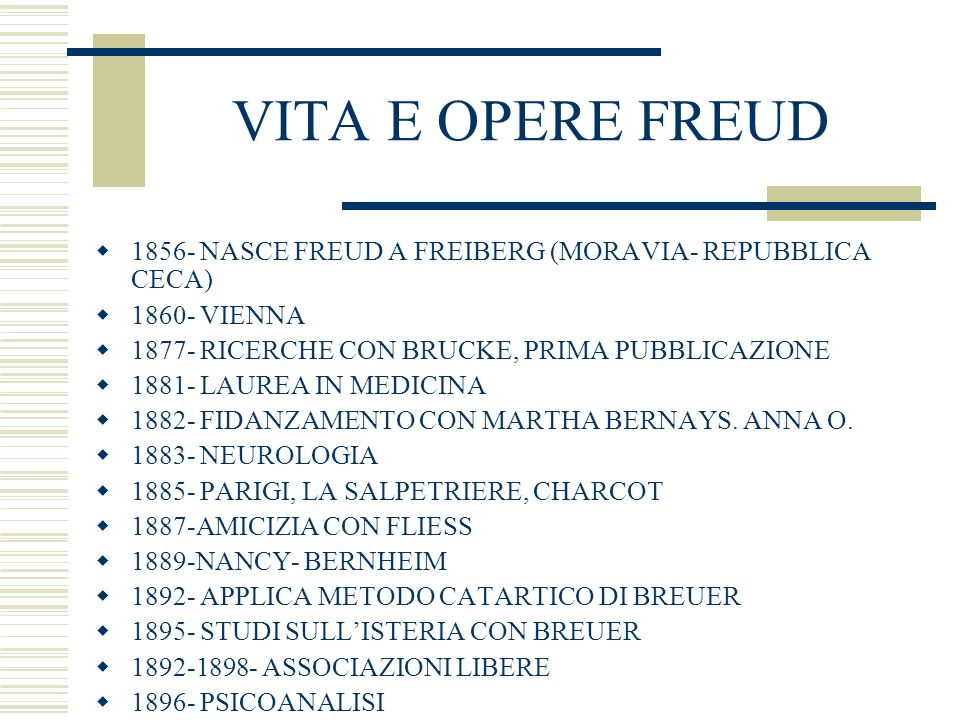 VITA E OPERE FREUD1856- NASCE FREUD A FREIBERG (MORAVIA- REPUBBLICA CECA) 1860- VIENNA. 1877- RICERCHE CON BRUCKE, PRIMA PUBBLICAZIONE.