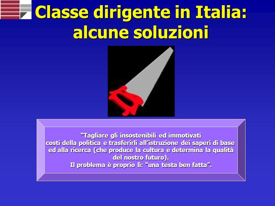 Classe dirigente in Italia: alcune soluzioni