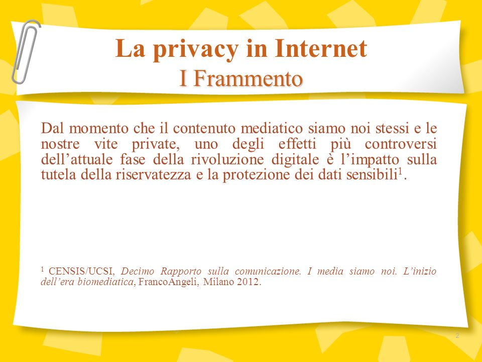 La privacy in Internet I Frammento