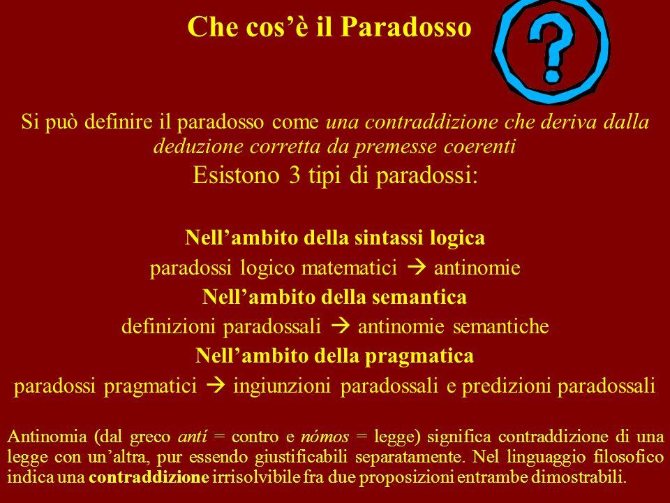 Che cos'è il Paradosso Esistono 3 tipi di paradossi: