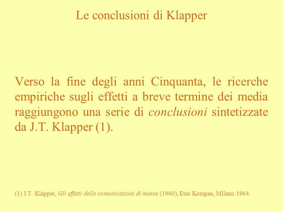 Le conclusioni di Klapper